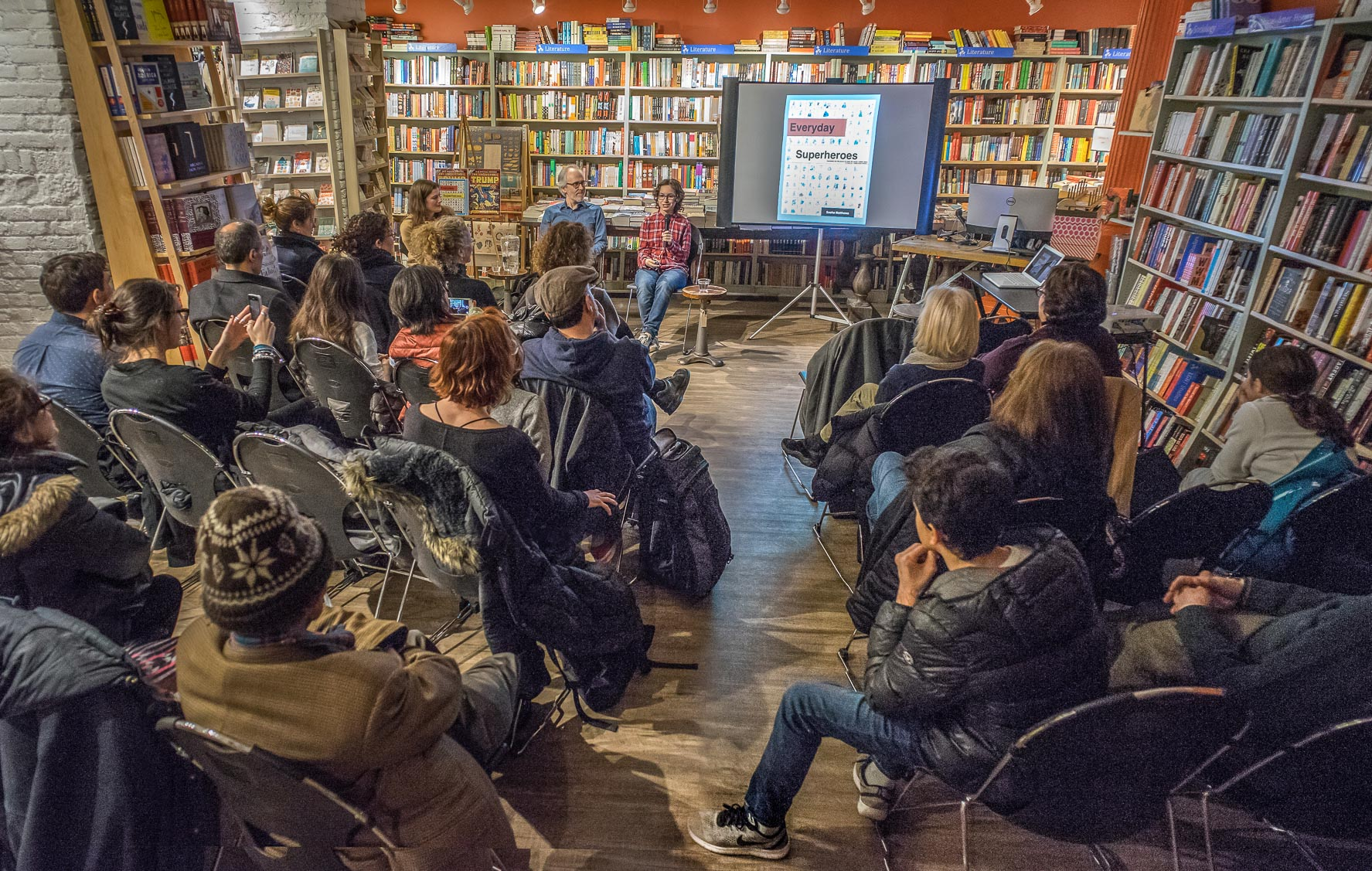 Sasha Matthews Everyday Superheroes book launch with R Sikoryak at Book Culture